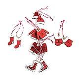 Logbuch-Verlag juego de 12 colgantes de Navidad 4-5 cm de madera en color rojo y blanco - adornos para el árbol de Navidad - decoración navideña