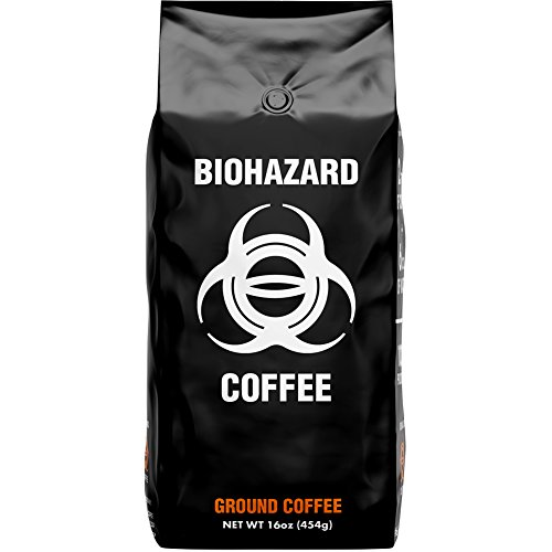 Biohazard Ground Coffee, The World's Strongest Coffee 928 mg Caffeine (16 oz)