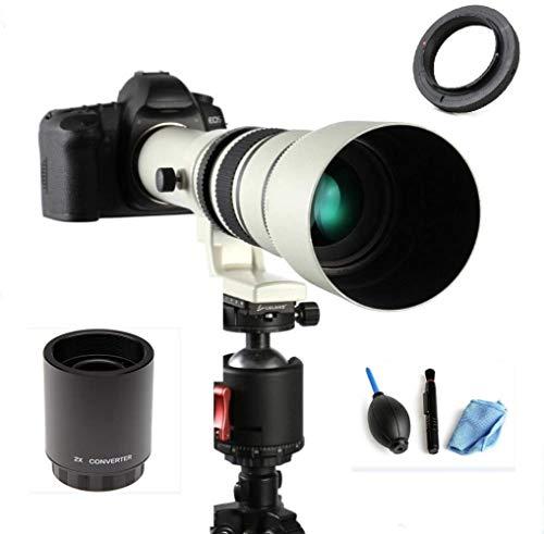 JINTU 500mm/1000mm f/8 Telephoto Lens Manual Camera Lens for DSLR Canon EOS 2000D 4000D 90D 80D 70D 60D 50D 40D 650D 600D 750D 700D 550D 450D 7D II 6D 5D 5DS 1Ds Rebel T6s T6i T6 T5i T5 T4i T3i T3 T2i