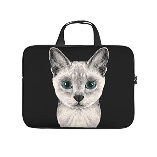 Cat Animal Laptop Tote Bag Multifunctional Laptop Bag Case for Work/Business/School/College/Travel White 12 Zoll