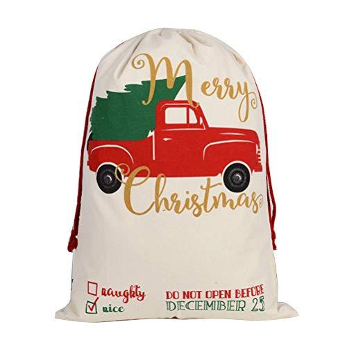 SANTITY Kerstmis Gift Bag Kerst Goody Tassen Geschenkverpakking Canvas Bag Gift Bag Katoen Tuniek Pocket Meerdere gebruik Trekkoord Tas C