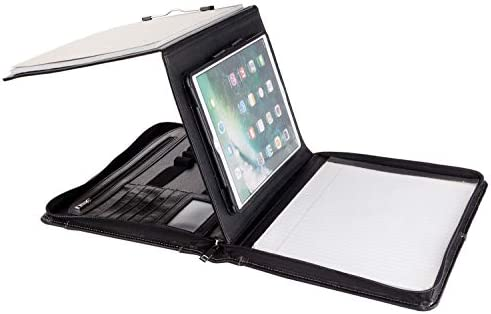 Professional Portfolio Business Organizer Leather Padfolio Case with Folding Center Panel for product image
