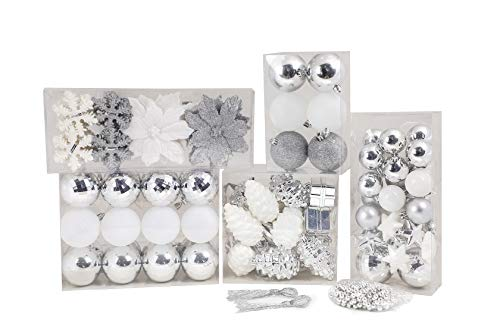 Design Accents Shatterproof Christmas Ball Ornament Collection Set (129-Set, White, Silver)