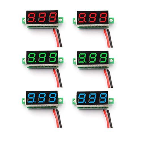 DaFuRui 6pcs Mini Digital Voltmeter DC 4V-30V 0.28 Inch Two-Wire Mini Digital Voltmeter Voltage Tester Meter 3 Colors