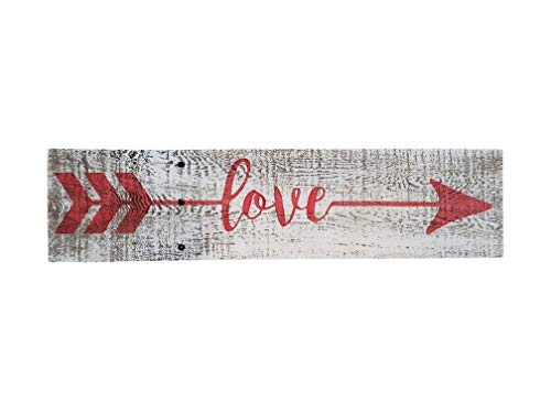 Love Arrow Sign - Rustic Farmhouse Decor Sign- 100% Reclaimed Wood - Weathered barn Wood Fixer Upper Style -Cute for Valentine's Day (White/Red)