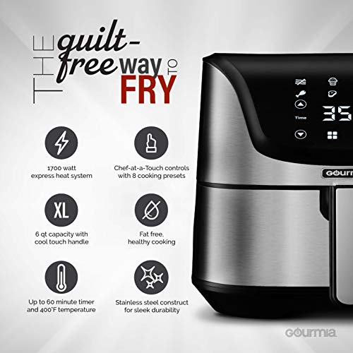 Gourmia GAF635 Digital Multi Mode Air Fryer | Oil-Free Healthy Cooking | 8 Preset Cook Modes | 6-Quart Capacity | Stainless Steel Design | Removable, Dishwasher-Safe Basket | Free Recipe Book Included
