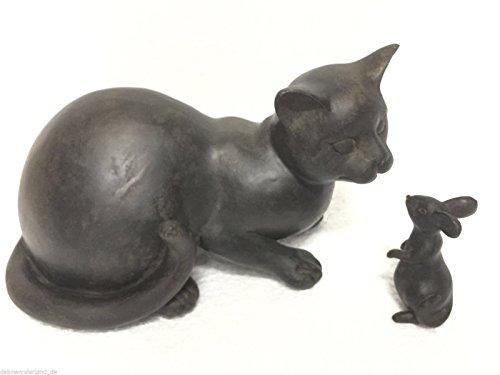 dekowonderland Statuetta Decorativa a Forma di Gatto e Topo, in poliresina, Stile Antico, Altezza: 15,5 cm