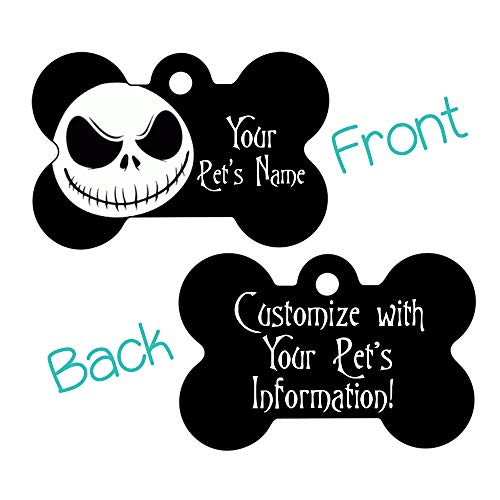 Double Sided Pet Id Tags for Dogs & Cats Personalized for Your Pet (Jack Skellington, Bone Shaped)