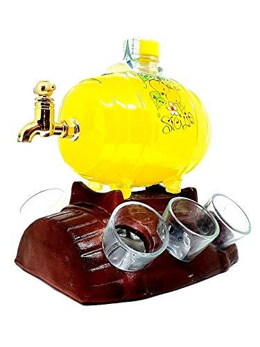 Sicilia Bedda - Limoncello in Botte Vetro con 6 Bicchierini da Liquore - Bottiglia Decorata - 50 Cl. 32°