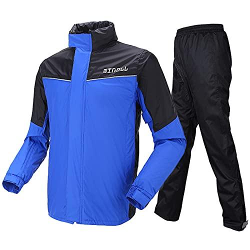 Motorrad Kombi - Regenkombi für Männer Frauen Regenbekleidung Regenanzug mit reflektierenden Streifen(L,Blau)