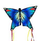CIM Cerf-Volant Papillon - Butterfly Blue – Cerf-Volant monofil pour Enfants à partir de 3 Ans - 58x40cm – avec Ligne de 20m – avec queues courbées de 195cm