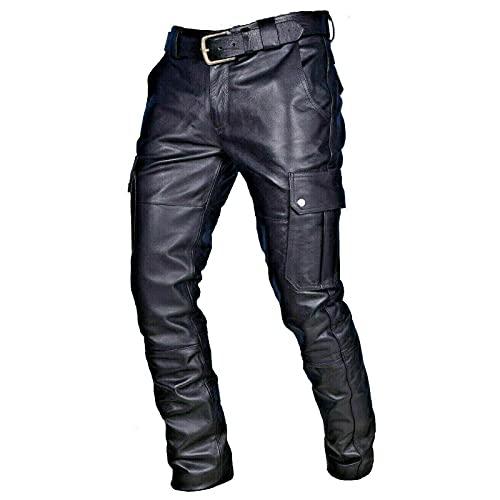 AOCRD Lederjeans Herren Bikerjeans Twill Lederhose in Schwarz   Oversize Men Pants   S-5XL