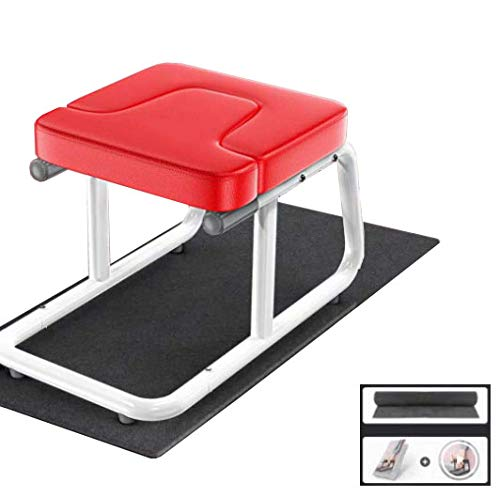 CURVEASSIST Pilates Kopfstand Bank Inverted Artifact Home Inverted Hocker Inverted Chair Erhöht Auf Den Kopf Yoga Auxiliary Fitness Stretcher Rot,Red-AntiSlipMat+Teaching
