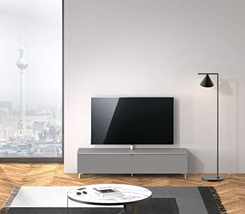 SPECTRAL® Just-Racks TV-Sound-Lowboard JRB1604-GR mit Stoffklappe, inkl. TV-Halterung und Universal Soundbar Ablage, (B/H/T) 160x38x40cm, Grey