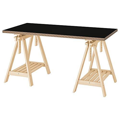 LINNMON/FINNVARD tafel 75x150 cm zwart/multiplex berk