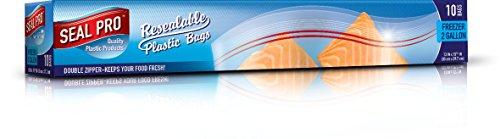 Sealpro Kunststoff-Lebensmittelbeutel, mit Zip-Verschluss, zum Tiefkühlen, Jumbo-Größe 7,6 l., 10 Bags