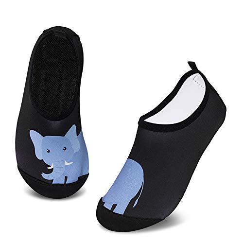 IceUnicorn Badeschuhe Kinder Schwimmschuhe Jungen Mädchen Strandschuhe Baby Aquaschuhe Barfußschuhe Kleinkind Wasserschuhe(Schwarz Elefant, 26/27 EU)