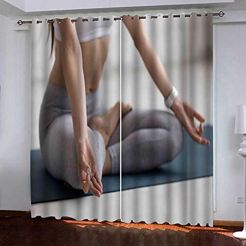 ZGHNZZ Cortinas Salon,Hacer Yoga Minimalista Cortinas De Salon Cocina Habitacion Termicas Aisantes, Proteccion Privacidad para Dormitorio Moderno 150 X 166 Cm