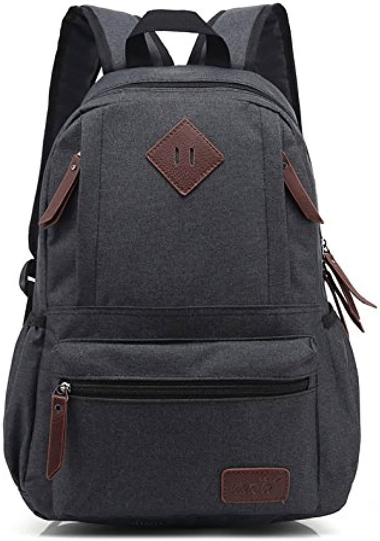 Korean Fashion Student Bag Neutral Solid Oxford Men and Women Backpack Shoulder Bag 29cm14cm43cm, Black