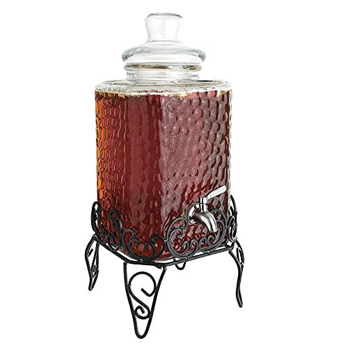 FEXINT Dispensador de bebidas de vidrio dispensador cuadrado decorativo con soporte de metal y espita de acero inoxidable para jugo cerveza vino licor Kombucha