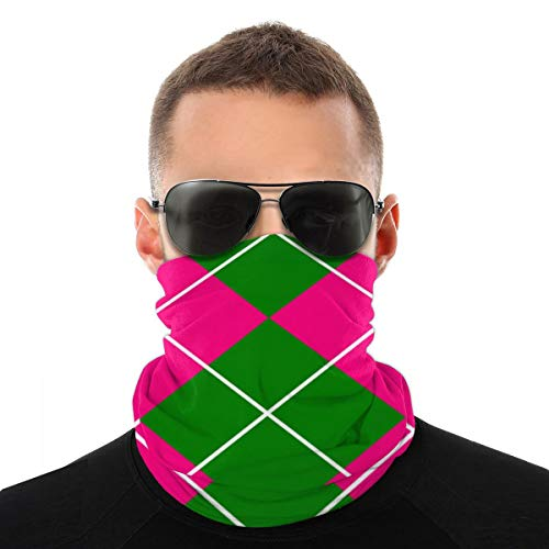 Rosa y verde patrón de cuadros gorro, protector para la cara, pasamontañas, cuello polaina.