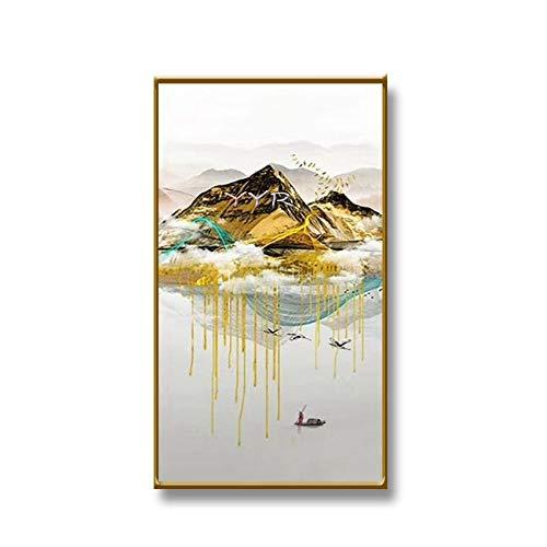 Handgemaltes Ölgemälde,100% Handgemalt Künstlerischen Landschaft Golden Landschaft Angeln Boot Groß Vintage Abstrakte Landschaft Mauer Kunst Bilder Handgefertigte Ölgemälde Auf Leinwand Artwork Fo