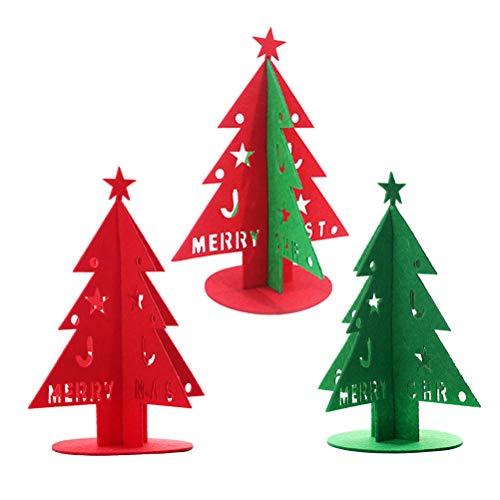 VORCOOL 3 Pcs Mini Arbre De Noël De Bureau Non Tissé Tissu Décoration De Noël DIY Maison Ornement De Noël Décor