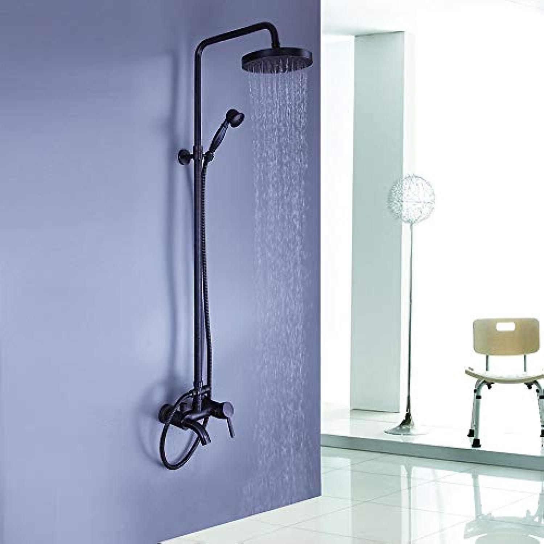 Lxc All-Kupfer-Duschset Wasserhahn Schwarz Alten Heien Und Kalten Duschset Einhand-DREI-Loch-Badewanne Duscharmatur Komfort erleben