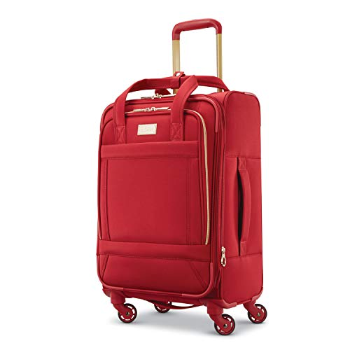 American Tourister Belle Voyage Softside Luggage with Spinner Wheels, Red, Checked-Medium 25-Inch