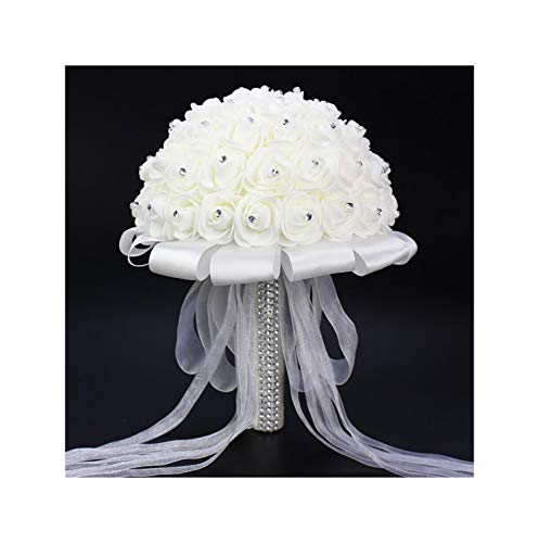 Misscany Boeket Zijde Bloemen Bridesmaid Wedding White Rose Bridal Bouquet White Satin Romantic Wedding Bouquet,White