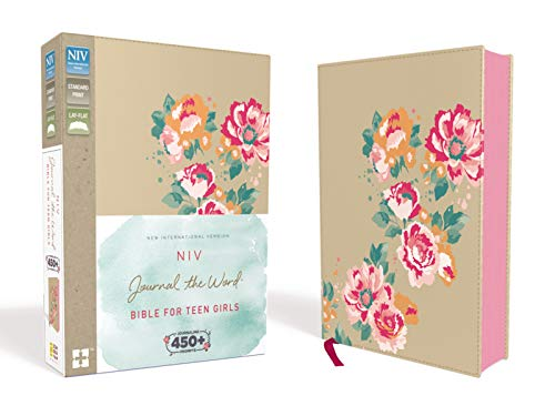 NIV, Journal the Word Bible for Teen Girls, Leathersoft over Board, Gold/Floral, Red Letter: Includes Over 450 Journaling Prompts!