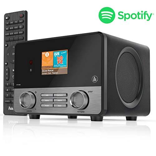 Hama Internetradio IR110MS (Spotify, WLAN, USB, Multiroom, 30 Favoritenplätze, Wifi-Streaming, beleuchtetes 2.6Farbdisplay, integr. Radio-Wecker, mit Fernbedienung, gratis UNDOK Radio-App) schwarz
