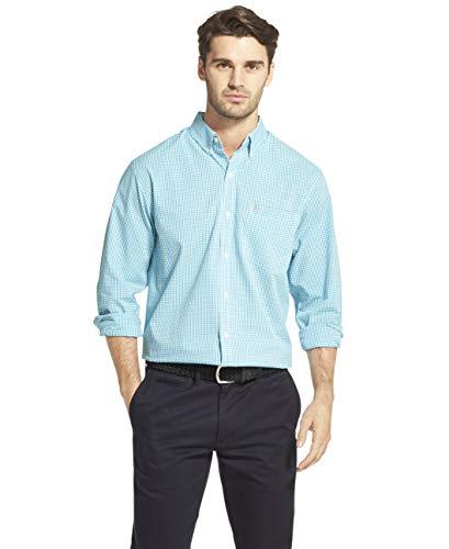 IZOD Men's Button Down Long Sleeve Stretch Performance Gingham Shirt, Caneel Bay, Medium