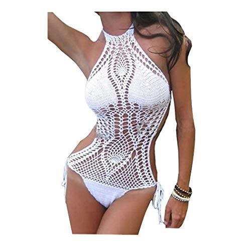 SwirlColor Bikini de Punto de Mujer Bikini de una Pieza Traje de baño Crochet Monokini Forrado Traje de baño, Bikini de Playa Traje de baño - S/XS