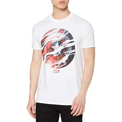 Marvel Ca Smoke Shield T-Shirt, Bianco, L Uomo