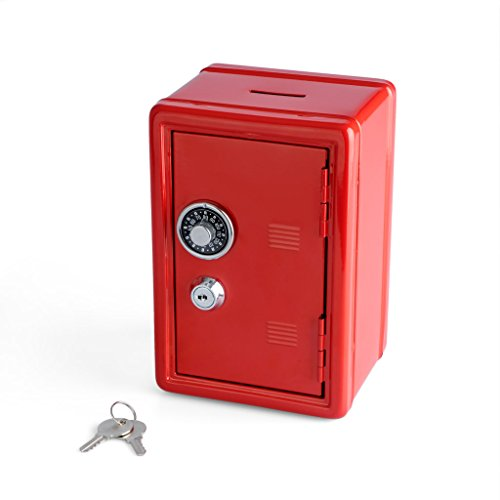 Balvi Hucha Money Bank Rojo Caja de Seguridad con Doble Cerr