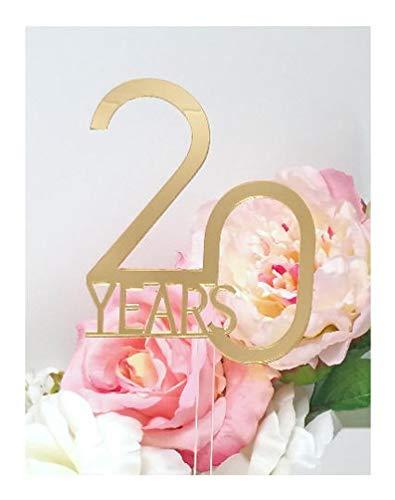 Spiegeltaart Topper; 20 Jaar Bruiloft Taart Topper; Spiegelgouden Bruiloft Decor; Elegante Bruiloft Topper [AJP35]