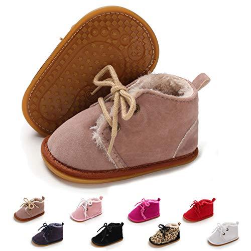 ENERCAKE Baby Booties Newborn Boy Girl Shoes Winter Warm Fur Lining Non-Slip Lace Up Prewalker Boots(6-12 Months Infant, A-Light Purple)