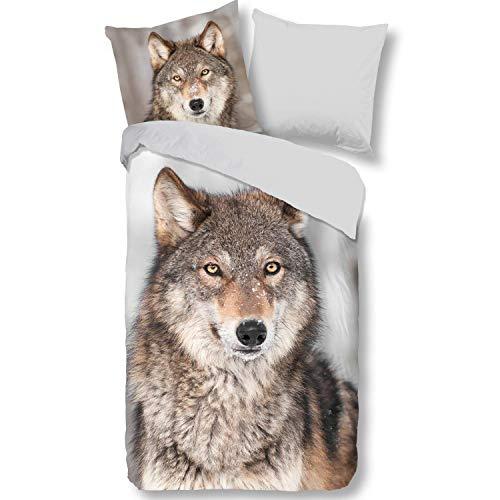 Aminata Kids - Warme Wende-Biber-Bettwäsche-Set Wolf 135-x-200 cm aus Baumwolle, grau, bunt, mit Wolf-Motiv Natur Wald-Tiere Wölfe, Reißverschluss, warm, weich & kuschelig