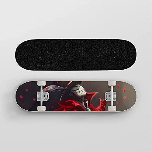 Guerlam Anime Skateboard para mi héroe académico Mago, Mini Crucero, patineta de Cubierta de Arce de 7 Capas, rodamiento de Carga 100 kg, Scooter de la Calle de la Calle para Principiantes
