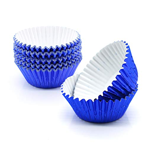 Cupcake Liners Blue,GOLF Standard Size Blue Foil Cupcake Liners Wrappers Metallic Baking Cups,Muffin Paper Cases, 100 Pack