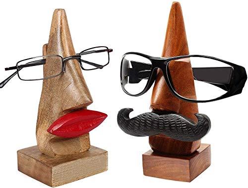 dg DESI GEN Wooden Home Decorative Nose Shaped Spectacle Eyeglass Holder Display Stand (Him & Her)