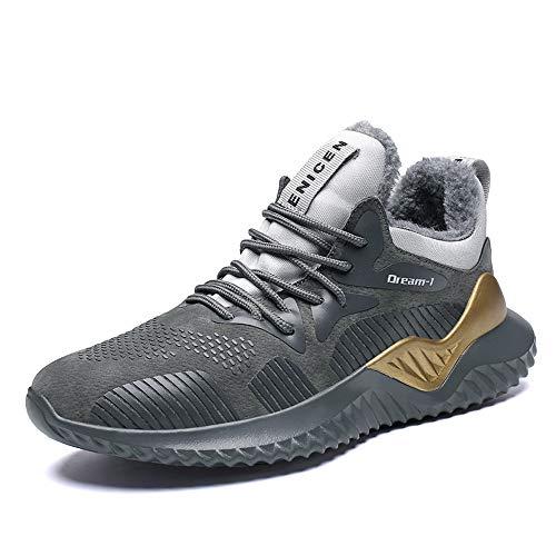 Chaussures de Sport pour Hommes, entraîneurs légers Fitness Casual Sports Walk Gym Jogging Baskets Sportives Automne et Hiver,grayplusvelvet,41