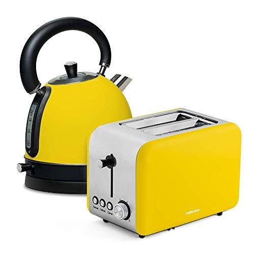 Mellerware Pack Desayuno Tostadora Crispy! + Hervidor Agua eléctrico Spring Diseño Original. Tostadoras Pan y hervidor de Agua (Amarillo)