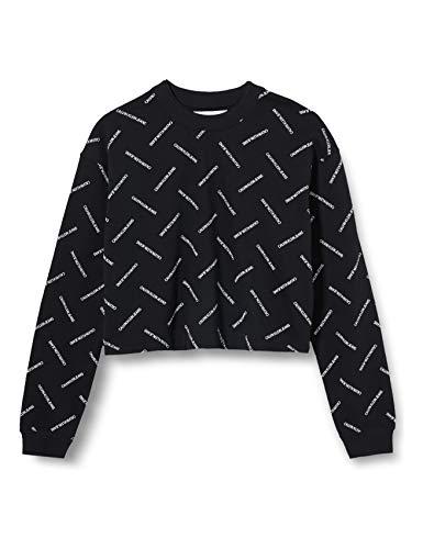 Calvin Klein Jeans Vrouwen Diagonal Logo Cropped Crew Neck Sweater