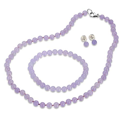 Genuine Jade in Lavender Color 3pcs Jewelry Set, Necklace, Bracelet and Stud Earring in Sterling Silver (18)