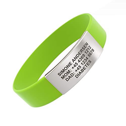 Djuva ID Armband (Model Beat Rush) - Personalisierte ID für Kinder, Identifikationsarmband, ID Armband und Sport ID (S (15cm), Grün)