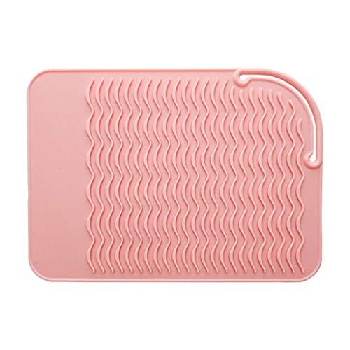 SDENSHI Larger Size Heat Resistant Silicone Travel Mat, Heat Proof Pad for Hair Straighteners, Curling Irons, Flat Irons and Other Hot Styling Tools - Pink