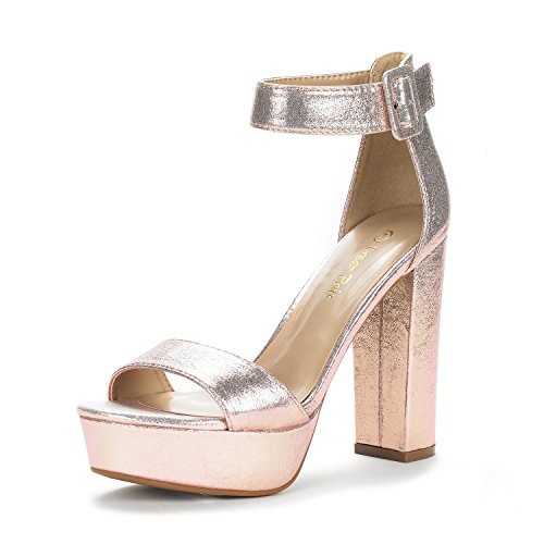 DREAM PAIRS Women's Hi-Lo Champagne Pearl High Heel Platform Pump Sandals - 11 M US