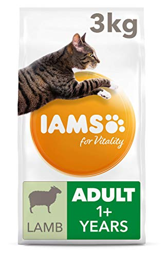 IAMS for Vitality Adult Dry Cat Food with Lamb, 3 kg